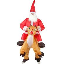 Christmas Show Costumes Inflatable Ride Deer Santa Claus Xmas Decor Costume Jumpsuit Mounts Santa Claus Clothes Props #1025(China)