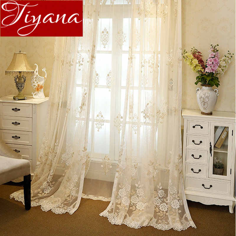 Europe Luxury Rustic Floral Window Curtains for Living Room Bedroom Sheer Fabrics Voile Treatment Drapes Cortinas T&364 #30