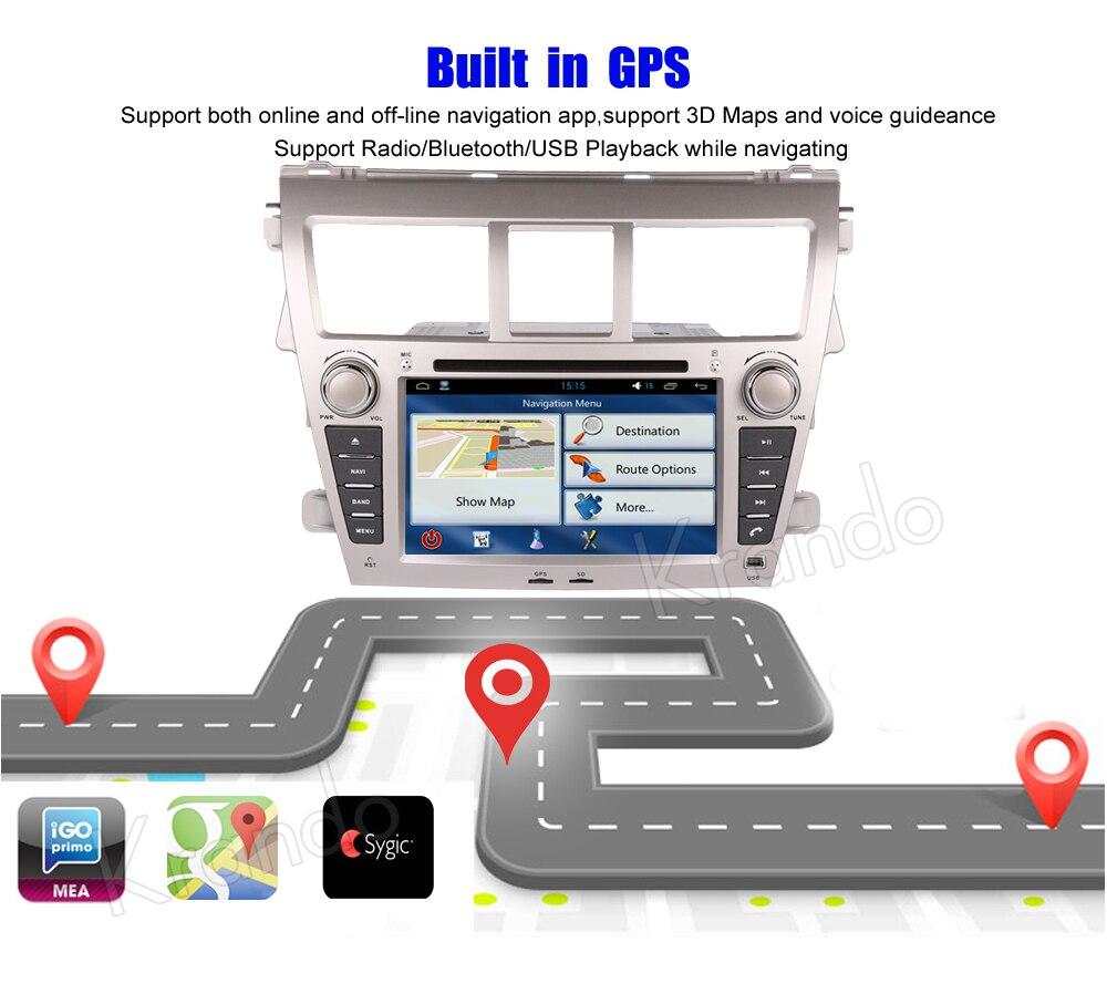 Krando android car radio stereo navigation gps for toyota vios 2007-2013 car dvd player multimedia system (5)