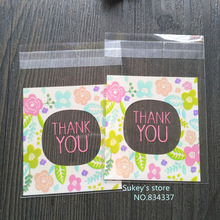 "100pcs/lot Flower Pattern ""Thank you"" Cookie packaging bags 7x7cm samll gift bag self adhesive plastic bags Wedding Candy bag"