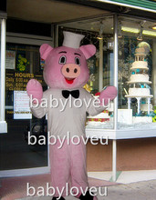 New pink pig chef mascot costume pa color fancy party dress suit carnival costume fursuit mascot