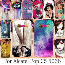 TAOYUNXI Soft TPU Hard Plastic Pop C5 Phone Case For Alcatel One Touch onetouch pop c5 5036 OT5036 5036D Case Back Cover