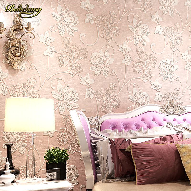 beibehang papel de parede Flower Wallpaper Modern Thick Floral Wall Paper Non-woven Water Wash TV Background Wall Vintage <br>