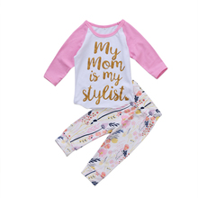 Pudcoco 2017 2Pcs Newborn Infant Baby Girls Gold Letters Mom Tops T-shirt Outfits Clothes Set Flowal Pants 0-24M(China)