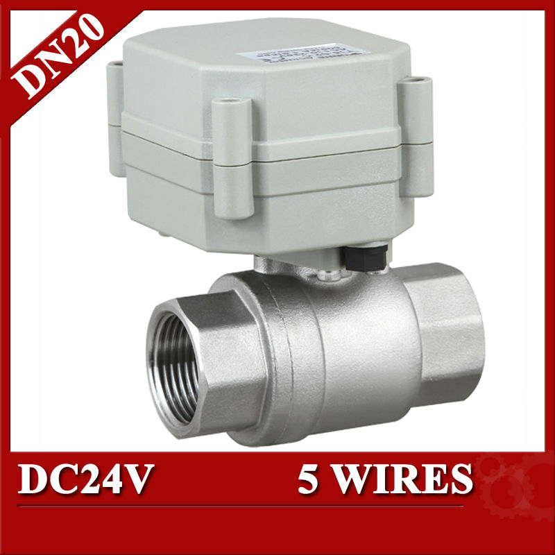 3/4 DC24V  automatic valve 5 wires, DN20 2 way motorized valve SS304, automated valve with signal feedback<br><br>Aliexpress