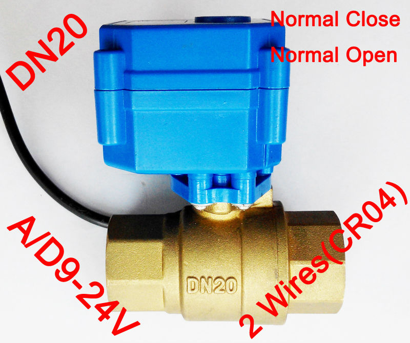 3/4 Brass electric automatic valve , AC/DC9-24V morotized valve 2 wire (CR04), DN20 Mini Electric valve with normal close/ open<br><br>Aliexpress