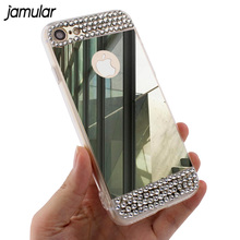 Bling Diamond Mirror Case For Samsung Galaxy A3 A5 A7 2017 J5 J7 2016 Note 5 S6 S7 Edge S8 Plus Cover for iPhone 8 7 6s Plus 5s(China)