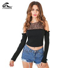 Women T Shirt Cold Shoulder Sexy Long Sleeve Hollow Out Patchwork Lace Top Cheap Clothes China Women's Summer Clothing SD005(China)