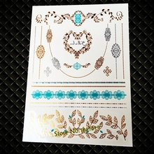 Popular Brand New Henna Style Temporary Tattoo Stickers Gold GJ-52 Love Choker Necklace Design Women Fingerprint Flash Tattoos