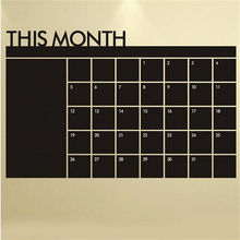 1PCS Monthly Chalkboard Chalk Board Blackboard Removable Wall Sticker DIY Month Plan Calendar Memo Stickers 60cm x 92cm(China)