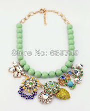 xl00269 Voluminous Fresh Beads Chain Jewelry Of Blossoms Necklace With Crystal Encrusted Pendant For Celebrating Spring Coming