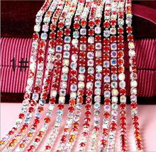Free Shipping  10 meters SS6 Crystal Rhinestone Trim, Rhinestone Applique, Wedding Applique,Rhinestone Chain NTONG003