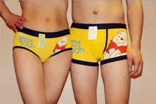 2013 1 set= 2 pcs boy and girl Cartoon little bear underwear couple boxers  pants cotton underwear wholesale