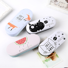 16style Multiple Cartoon Cute Multicolor Cat Fruit Pattern PU Leather Glasses Case Metal Optical Eyewear Glasses Box for Gift