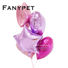 6pc 18inch Gold Sliver star pink heart shaped foil balloons love wedding birthday party decor metallic Helium Globos balao