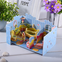 Lovely Bathroom 3D Stereoscopic Puzzles DIY Paper Puzzles Child Kids Educational Toys Handcraft Toys(China)