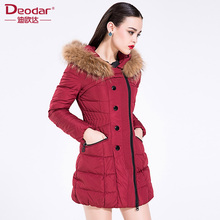 Deodar 2017 New Arrival Design Fashion 90% White Goose Down Jacket Women Winter Long Slim Vintage Solid Raccoon Fur Hooded Coats