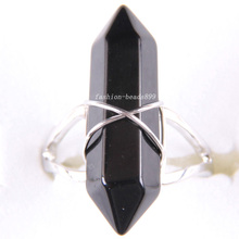 1Pcs Free Shipping Zinc Alloy Natural Stone Black Onyx Ring Adjustable Z286