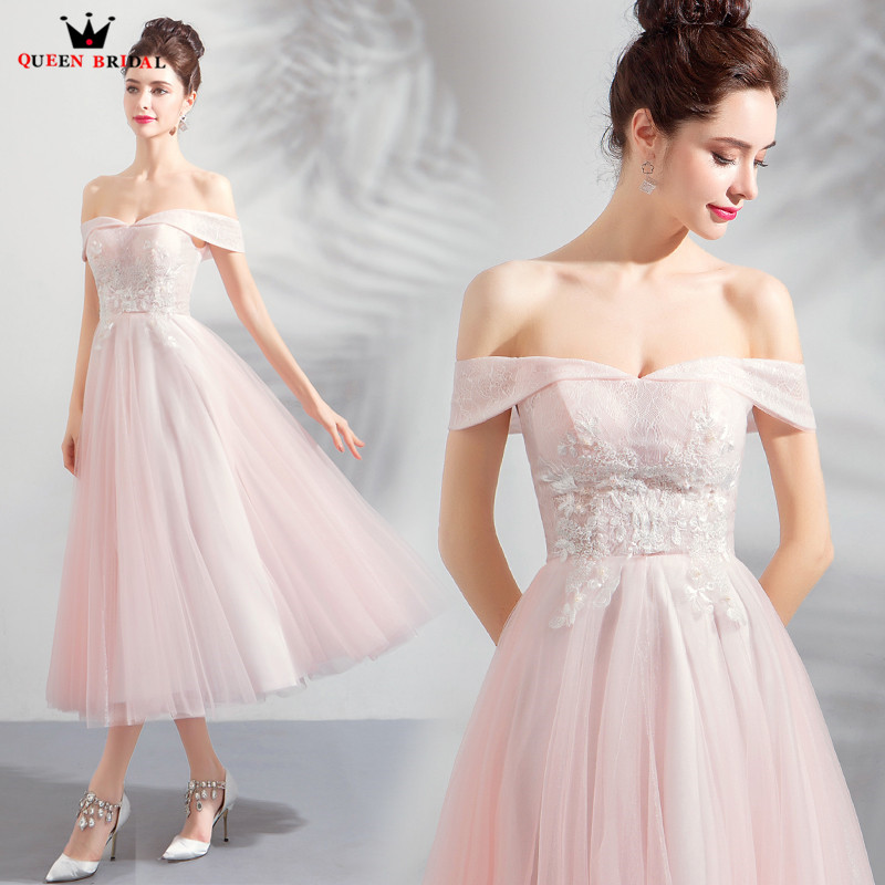 A-line Tea Length Cap Sleeve Tulle Lace Beaded Pink Short Formal Evening Dress 2018 New Arrival Evening Gown Robe De Soiree JU09