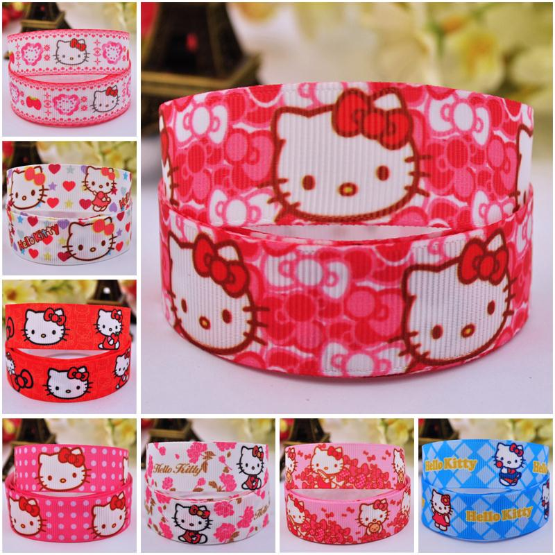 7/8'' 22mm Hello Kitty Cartoon Characters printed grosgrain ribbon party decoration satin ribbons 20 yards sewing supplies(China (Mainland))