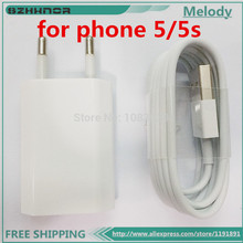 SZHXNOR New EU Euro European Wall Charger + 8 Pin to USB Data Cable for iPhone 5 5C 5S for ipone 7 7pus 6 6s ipod nano touch