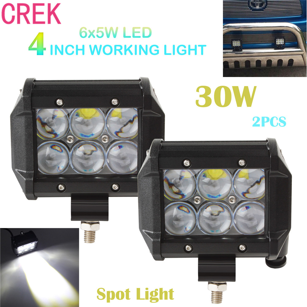 CREK 1Pair 4 Inch 30W 2550LM Car LED Spot Work Light Spotlight for 4WD ATV Off-road SUV Driving Bar Lamp Headlight<br>