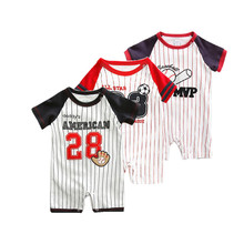 2017 summer Sports costume romper for baby boy clothes newborn -24M baby products cotton one pieces jumpsuits football bebes
