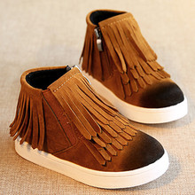 Winter Children's Fringe boots girls winter warm boots Kids flat heel short fringe moccasin boots baby fashion shoes size 21-30