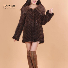 Warm Thick Knitted 100% Real Mink Fur Coat Long Women New Arrival Nature Handmade Knitted Fur Jacket Zipper Coat TFP760