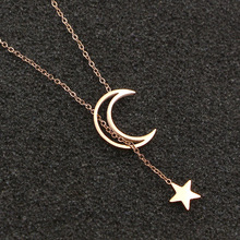 2017 Fashion Brand OL Style Stainless Steel Love Hollow Moon Star Pendant Necklaces Women Lady Girl Party Gift(China)