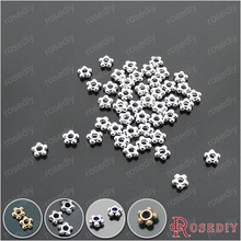 (18184)204.5MM Silver Color Plated Zinc Alloy Flower Shape Spacer Beads Diy Jewelry Findings Accessories - Moon's shop store