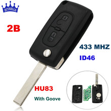 2 Button Folding Flip Remote Key for Peugeot 307 433MHZ ID46 Chip 0536 models up to 20110416 HU83 Blade(China)