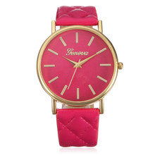 Wavors watches women fashion luxury watch plaid PU Leather strap analog quartz ladies casual wrist watches Relogio Feminino