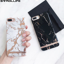STROLLIFE Rose Gold Marble Print Phone Case For iPhone 6 Luxury Golded stripes Line Hard PC Back Cover Coque For iPhone 6S 7Plus(China)