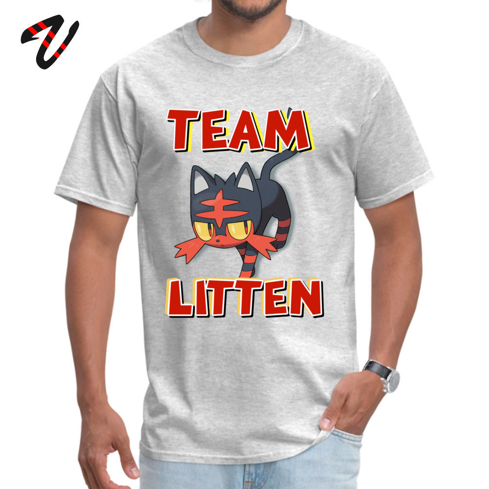Team Litten ! High Quality Hip hop Tops Shirt O Neck Summer Cotton Short Sleeve T-shirts for Men Casual Tshirts Team Litten ! -18243 grey