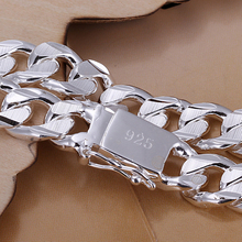 10MM 8INCH Fashion Russian Runway chains & Link Bracelets Silver  Bracelet bangle  men's jewelry  925 sterling silver bracelet
