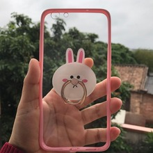 Carton Rabbit Ring Stand Slim Ultrathin Transparent Acrylic PC TPU Protective Case Cover For Oppo F1S F1+ F1