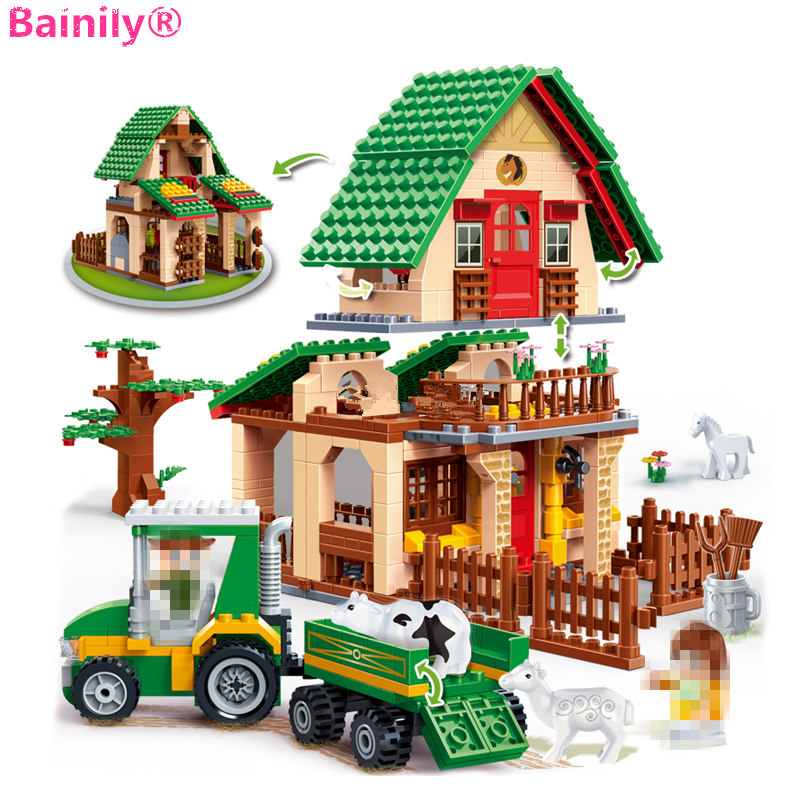 [Bainily] 541 Pcs Happy Farm Building Blocks 4 Toy Figures Educational Constructor Bricks Set Kids Toys Blocks Parts<br>