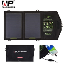 ALLPOWERS 10W Solar Charger Panel Portable Foldable Power Bank Water Resistant Solar Panel USB Charge for Phone