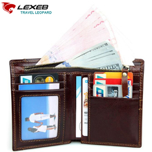 LEXEB Cow Leather Wallet For Men Credit Cards Case RFID Blocking Short Style Zipper Open ID Holders Bifold Coin Purses Chocolate