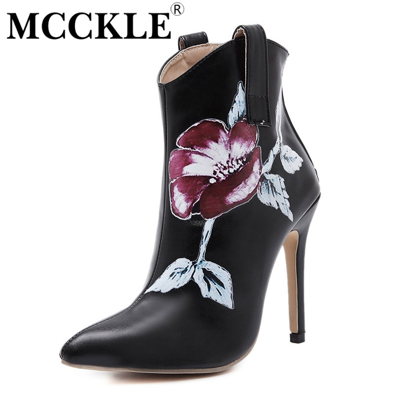 MCCKLE Womens fashion Ankle Boots Pointed Toe Flower Printed Casual Boots 2017 new  Thin High Heels PU Leather Boots Woman<br><br>Aliexpress