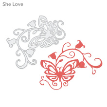 She Love Butterfly Morning Glory Metal Cutting Dies Scrapbooking Embossing Folder DIY Festival Decor Scrapbooking Template