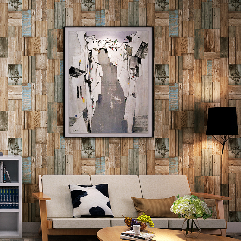 Retro Nostalgic Color Wood Grain Wallpaper Living Room Restaurant Bar Clothing Shop Decoration Wood Board Vinyl Wall Paper Rolls<br>