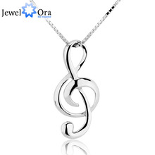 Musical Note Necklaces & Pendants Wedding Jewelry Elegant Women 925 Sterling Silver Necklace Gifts For Her (JewelOra NE100355)(China)