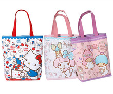 Kawaii Hello Kitty Cat Canvas Bag Women Shoulder Bag Melody Little Twin Stars Cartoon Printing Handbag Book Shopping Bag Zipper