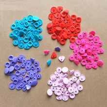 Selling 100SETS/LOT 4pcs/set  Mix color 12mm Heart Shape plastic snaps baby snap buttons clothing accessories