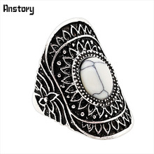 Flower Design White Oval Stone Rings Vintage Look Antique Silver Plated Fashion Jewelry TR471