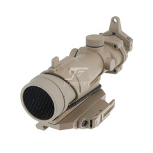 JJ Airsoft ACOG Style 4x32 Scope with Killflash / Kill Flash , AC12033 Bobro Style Quick Release / QD Mount (Tan)