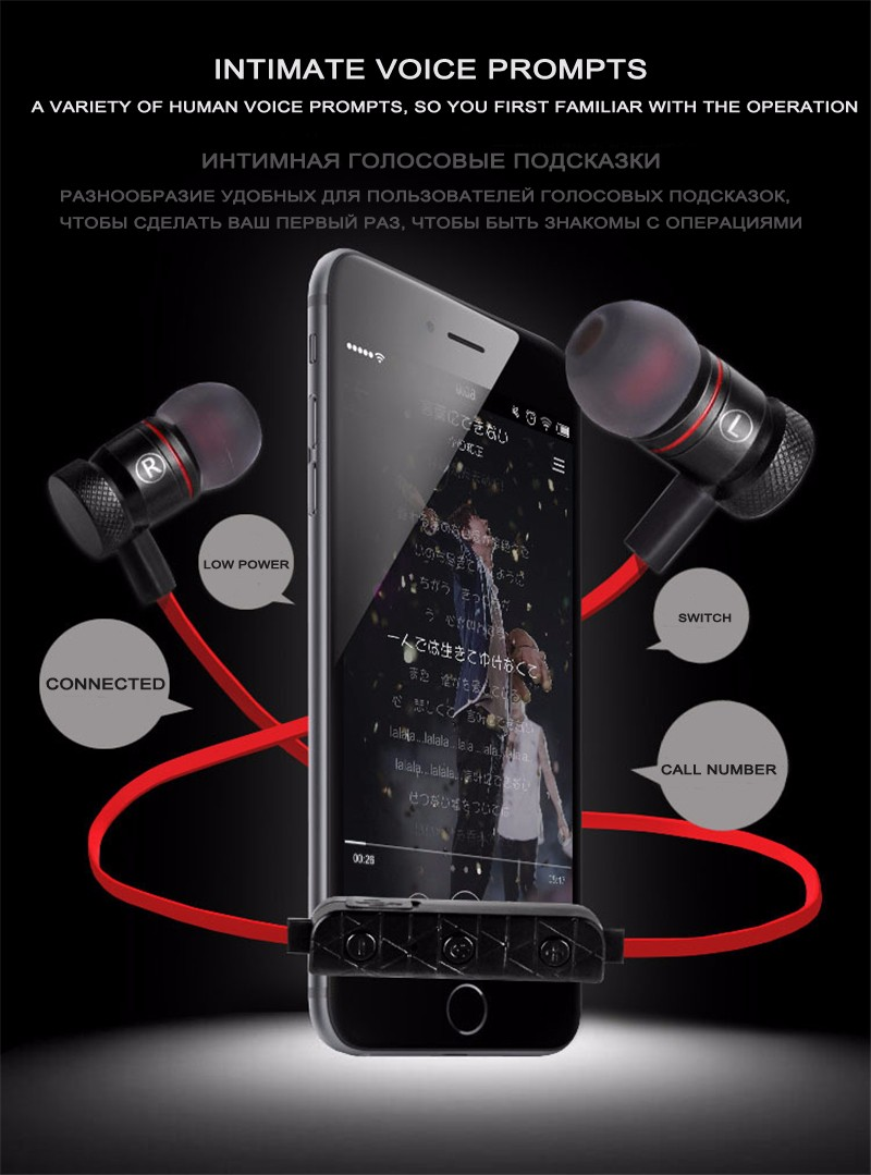 LUOKA M9 Bluetooth Headphones Wireless In-Ear Noise Reduction earphone with Microphone Sweatproof Stereo Sport Bluetooth Headset