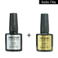 BELLE FILLE UV Nail Gel Soak-off Nail Gel Polish Transparent No Wipe Top Coat + Base Coat Long Lasting Nail Primer Gel Kit